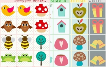 Seasons - Memory game free printables