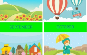 Calendar months - Flash card free printables