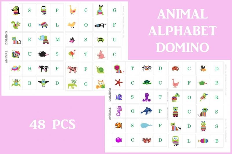 Animals - Alphabet Dominoes printables