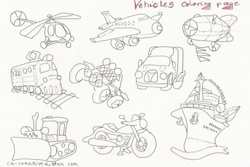 Vehicles coloring pages creative kitchen