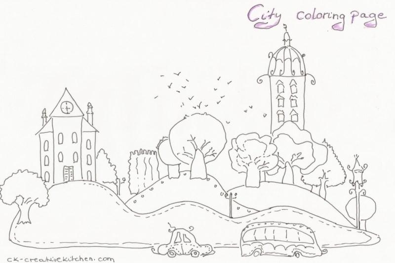 City coloring page Creative Kitchen