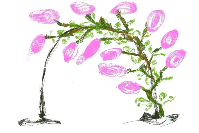 Rose bowen and tree - Fingerprint numbers free printables