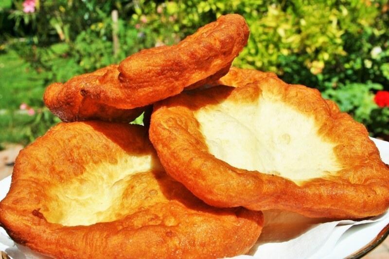 Hungarian yeast cake Langos