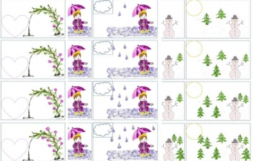 Rose garden, winter forest and rain - Numbers matching cards