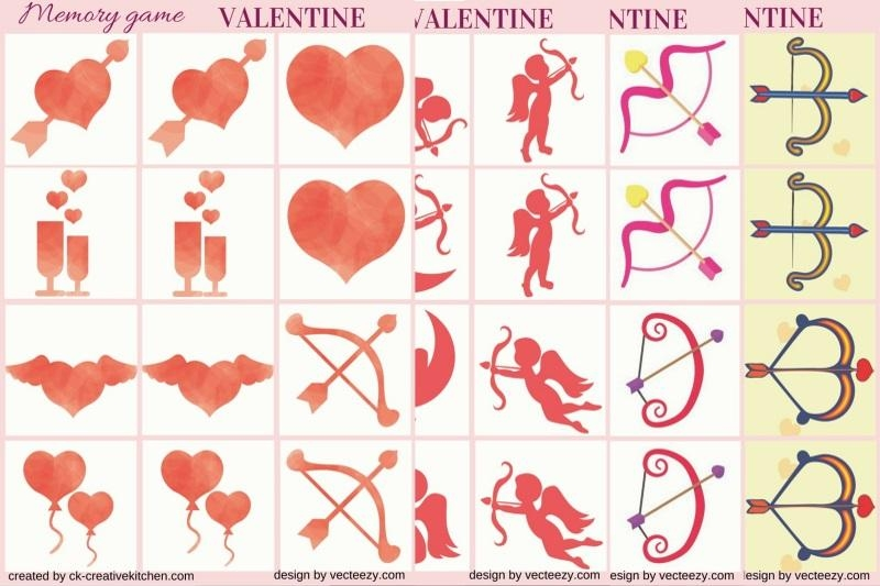 Valentine day- Memory game free printables