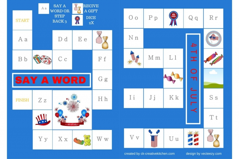 4 th of July - Alphabet board game