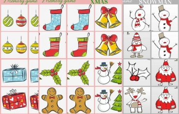 Christmas ornament and snowman - Memory game free printable