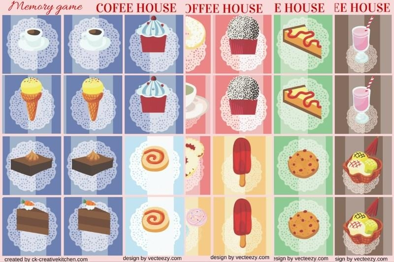 Coffee house - Memory game free printable