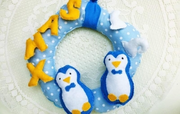 Door wreath - Xmas penguin