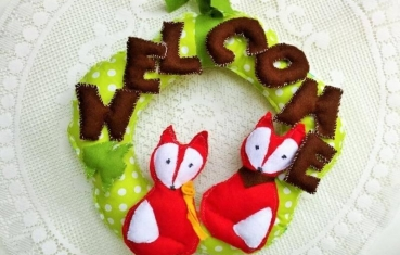 Door wreath - Welcome fox