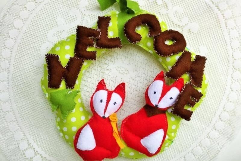 Door wreath - Welcome fox