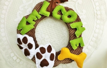 Door wreath - Welcome dog