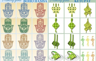 Boho hamsa and Ketupat - memory game free printables
