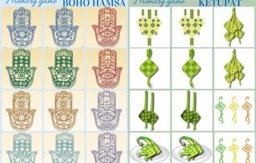 Boho hamsa and Ketupat - memory game free printables