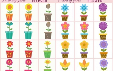 Flower - Memory game free printables