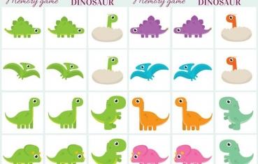 Dinosaur - Memory game free printables