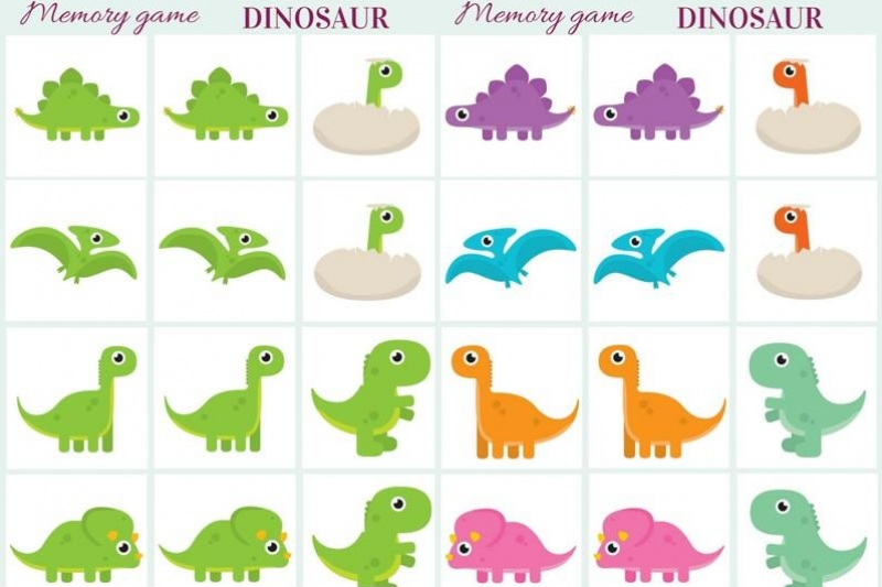 image relating to Printable Memory Game named Dinosaur - Memory activity cost-free printables - Artistic Kitchen area