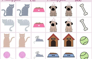 Cat and dog - Memory game free printables