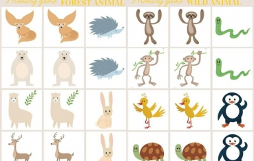 Wild forest animals - Memory game free printables