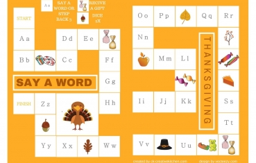 picture regarding Printable Board Games named Thanksgiving - Alphabet board match cost-free printable - Innovative