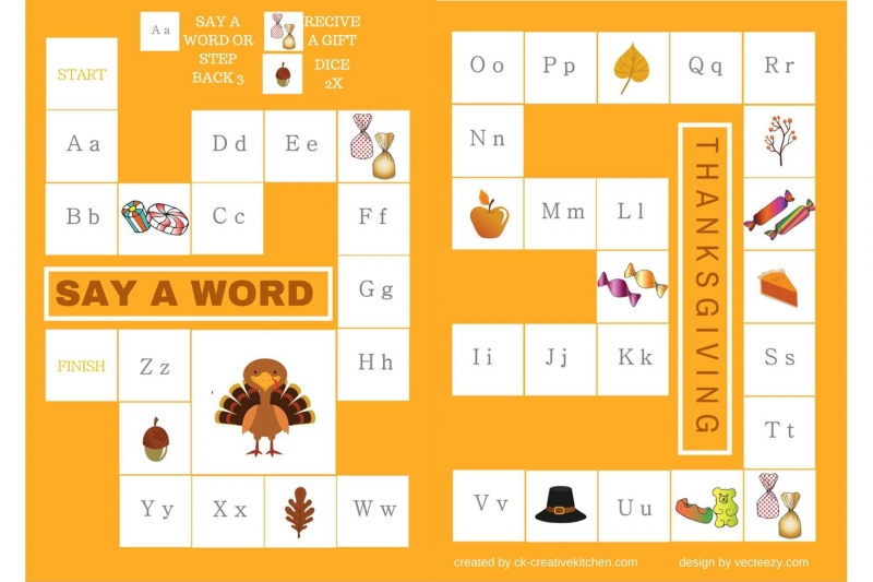 Thanksgiving - Alphabet board game free printable