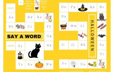 image about Printable Board Games named Halloween - Alphabet board activity no cost printable - Resourceful