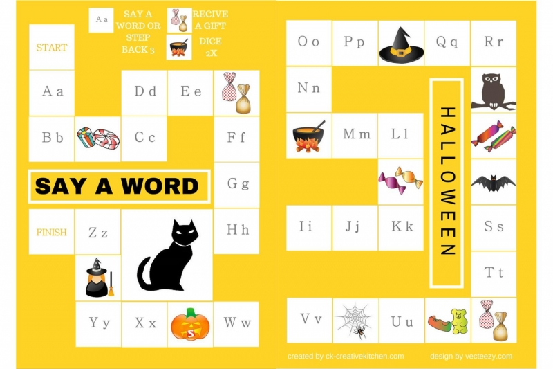 Halloween - Alphabet board game free printable