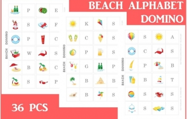 Beach - Alphabet Dominoes free printables