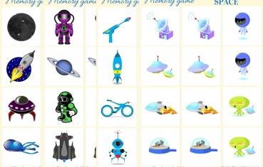 Space - Memory game free printables