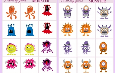Monster - Memory game free printables