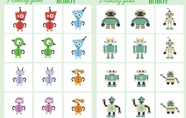 Robot - Memory game free printable
