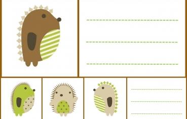 Hedgehog - School labels free printable