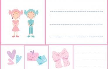 Pink - School labels free printable