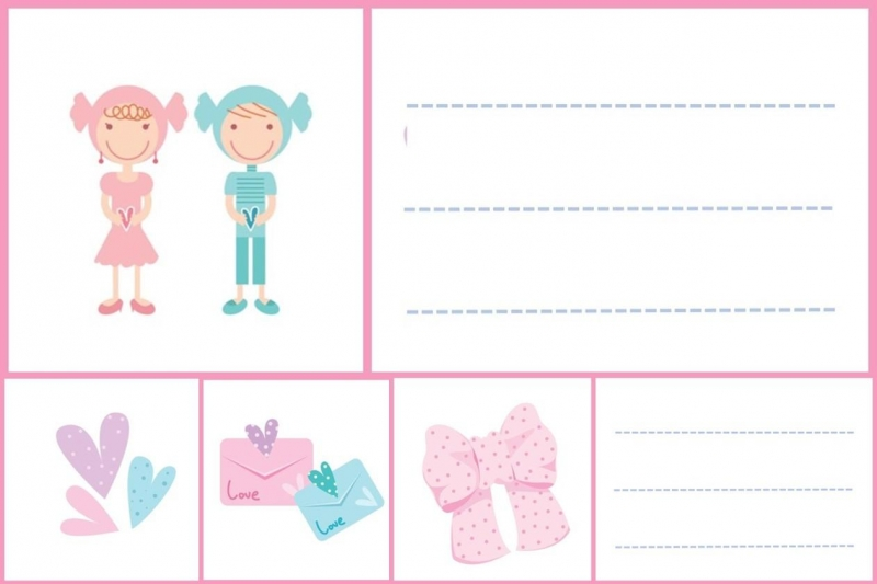 Pink - School labels free printable