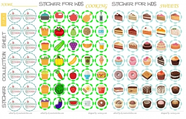 Cooking and sweets reward sticker - Free printables