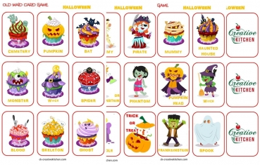 image relating to Printable Card Games referred to as Halloween Outdated Maid Playing cards - Free of charge printables - Resourceful Kitchen area