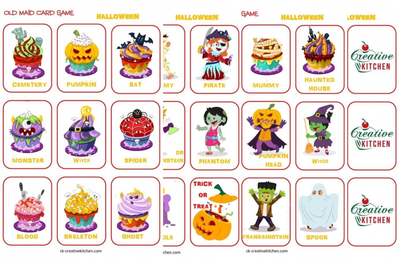image regarding Printable Halloween Game identified as Halloween Aged Maid Playing cards - Absolutely free printables - Imaginative Kitchen area