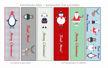 Christmas cute bookmark - Free printable
