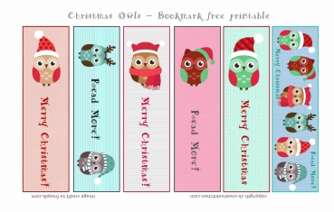 Christmas Owls Bookmark - Free printables