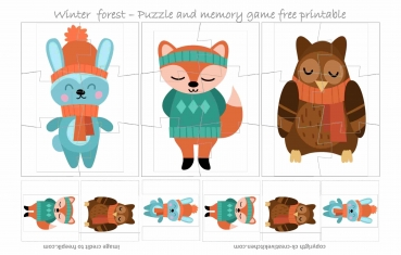 Winter Forest Puzzle - Free printable