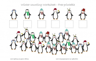 Winter Penguin Counting Worksheet - Free Printable