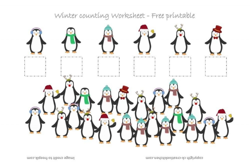 Winter Penguin Counting Worksheet Free Printable