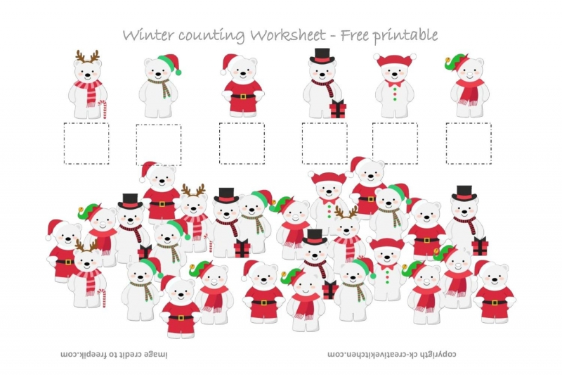 Winter Polar Bear Counting Worksheet - Free Printable