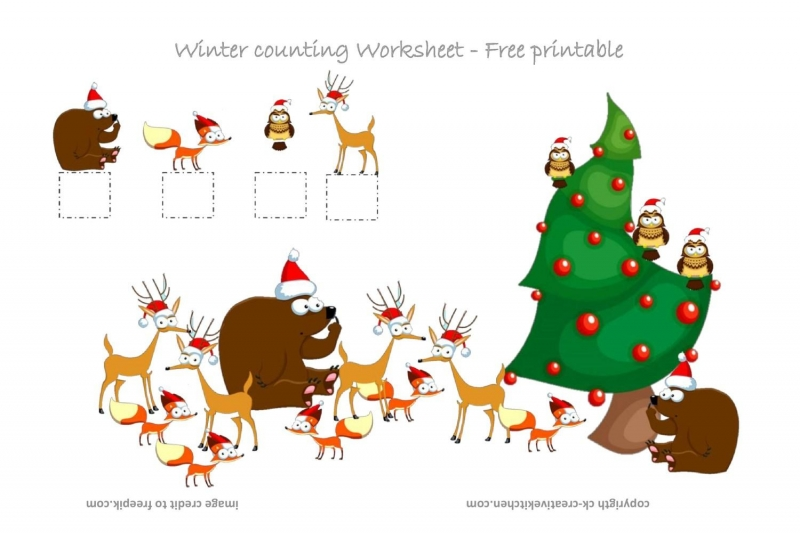 winter forest animals counting worksheet free printable creative kitchen. Black Bedroom Furniture Sets. Home Design Ideas