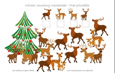 Deer Counting Worksheet - Free Printable