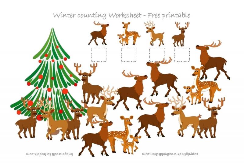 Deer Counting Worksheet - Free Printable