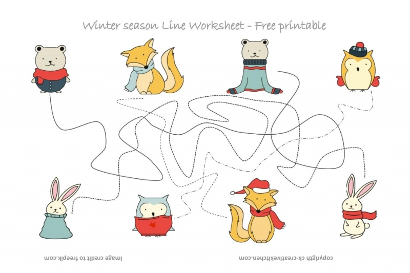 Winter Forest Animals Line Worksheet - Free Printable