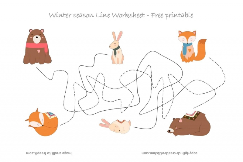 Forest Animals Line Worksheet - Free Printable