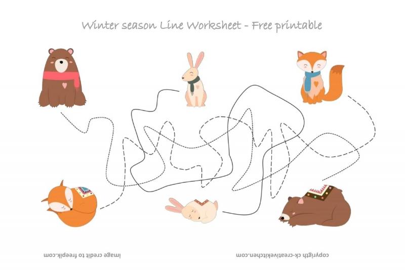 Forest Animals Line Worksheet - Free Printable - Creative Kitchen