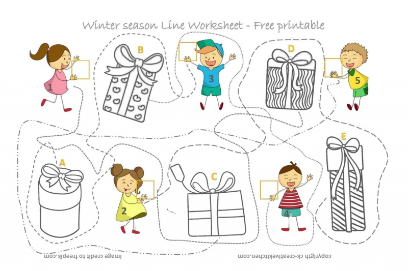 Christmas Box Line Worksheet - Free Printable